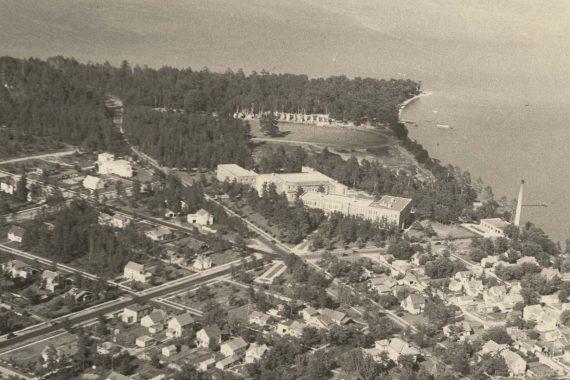An aerial photo of Bemidji State taken in 1938