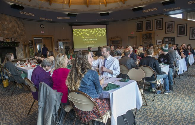 Faculty, staff, students and community members filled the Gathering Place as the event started.