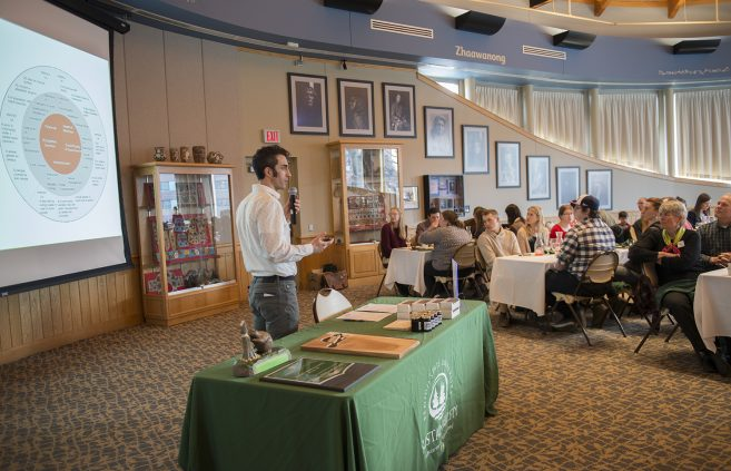 ordan Lutz, sustainability project manager, welcomed everyone to the Feast of Green.
