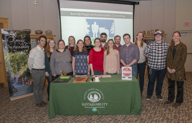 Sustainability Office students and staff gather for a photo at 2019 Feast of Green.