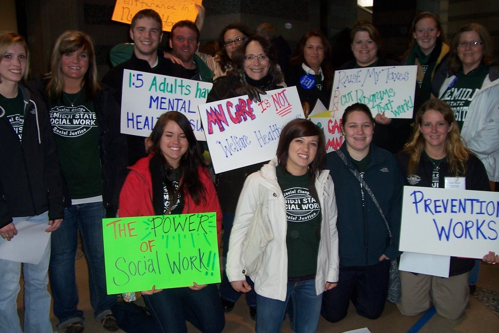 BSU Social Work students and faculty at the NASW Day at the Capitol event in St. Paul.