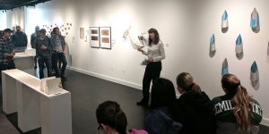 Linssen speaking about her Talley exhibition