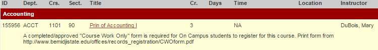 Course Work Only form