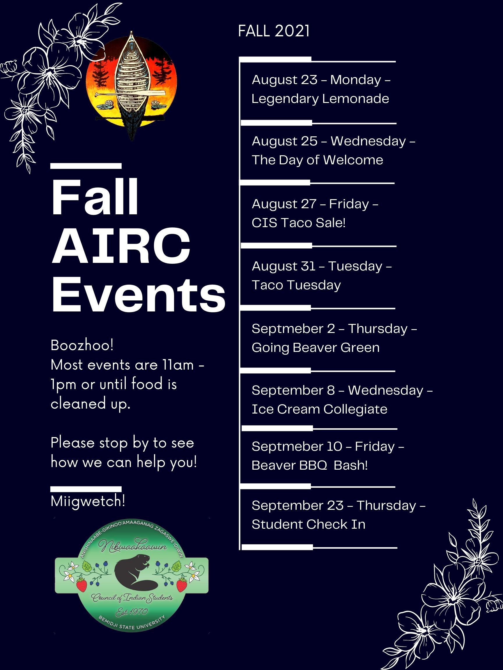 A list of Fall Welcome Events at AIRC