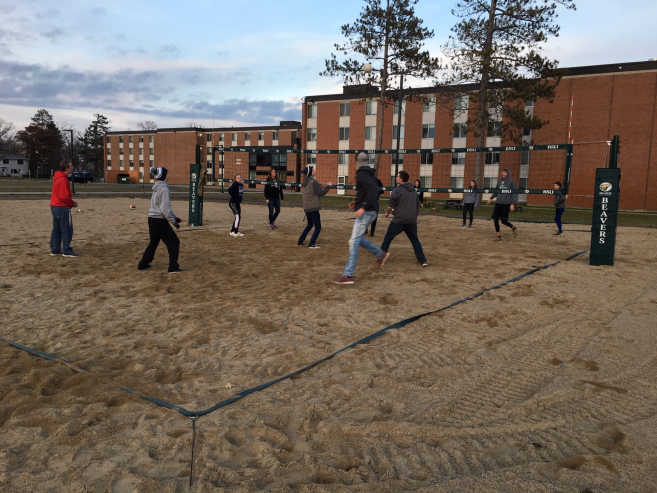 New volleyball courts outside of the BSU dorms.