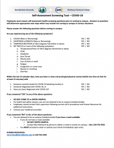 Screen shot of BSU/NTC Employee Self-Assessment Health Screening Questionnaire