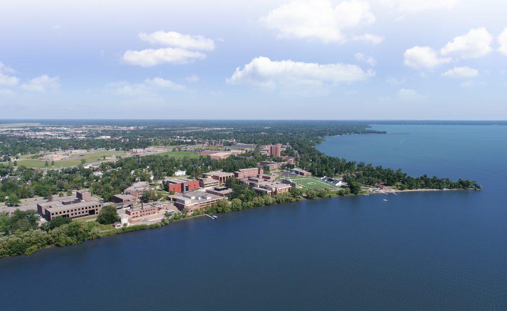 Aerial view of Bemidji State University on beautiful Lake Bemidji.
