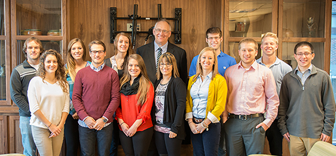 President Hanson (center) with the 2014-15 President's Student Commission.