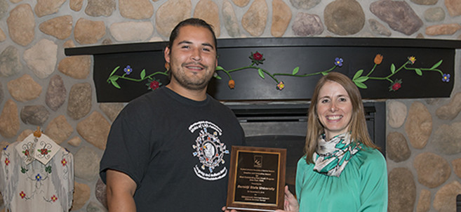 Pictured: Vincent Staples-Graves (left) and Angie Gora, BSU's director of summer programs (right).
