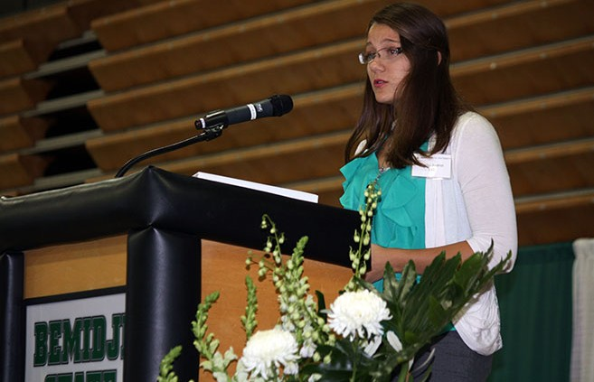 Senior Shelby Andrist speaks about the importance of seizing opportunity during the BSU Foundation's Scholarship Appreciation Breakfast on Sept. 19 in the BSU Gymnasium. Andrist is a first-generation student and the daughter of a single mom.