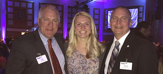 Allison Cordes at the Minnesota TEKNE Awards with her father, Scott Cordes (left) and Dr. Randy Westhoff (right), BSU assistant vice president for academic affairs.