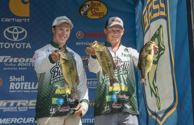 Thor and Mitch Swanson weigh in on Day 1 of the Bassmaster College Series National Championship, Aug. 10.
