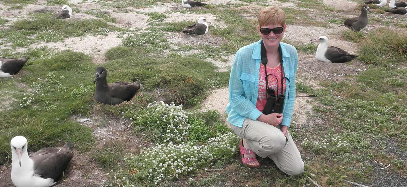 Dr. Elizabeth Rave in the Midway Islands.