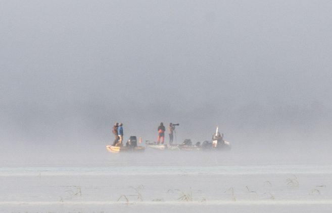 Fog on Lake Bemidji on Day 3 of the tournament.