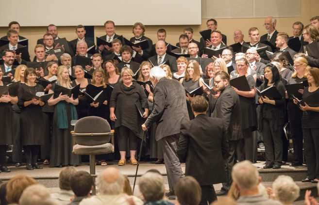 Dr. Paul Brandvik conducted the concert's final piece.