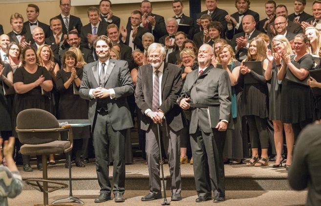Drs. Dwight Jilek and Paul Brandvik and Mark Carlson at the concert's conclusion.