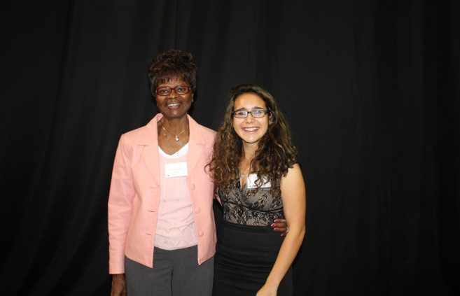 Gabriela Lara, a senior from Otsego majoring in science education, is pictured with BSU professor emeritus Annie Henry, who endowed one of the scholarships Gabriela is receiving this year.