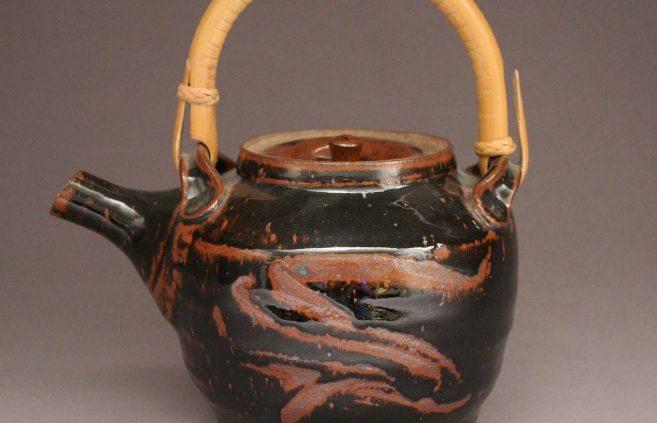 Warren Mackenzie—stoneware and cane teapot