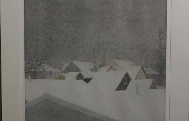 """Wanda Miller Matthews, """"Snow Light,"""" etching"""