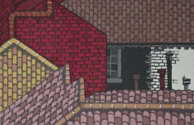 """Junichiro Sekino, """"Rooftops of Venice,"""" woodcut"""