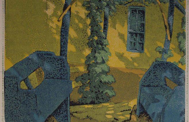 """Gustave Baumann, """"A Quit Corner,"""" color woodcut"""