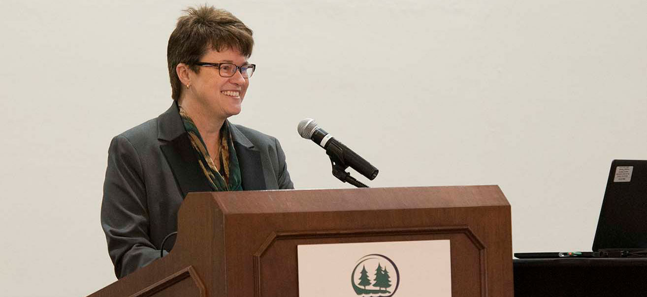 BSU President Faith C. Hensrud at 2018 Spring Faculty & Staff Startup Breakfast