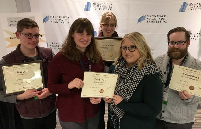 L to R: Tony Gobrove, Hannah Clark, Hope Wall, Stacey Kaslon and Shawn Campbell display their awards from the Minnesota Newspaper Association.