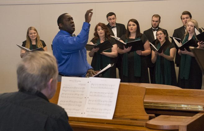 Dr. Jesse Grant directs the BSU Choir at a celebration event commemorating Dr. Martin Luther King, Jr., following the dedication.