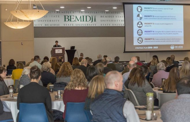 BSU President Faith C. Hensrud unveils the university's 2018-2023 Strategic Plan at a Jan. 3, 2018, forum on campus.