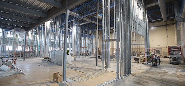 Renovated Memorial Hall, under construction in this Jan. 2015 photograph, is LEED-certified for energy efficiency.