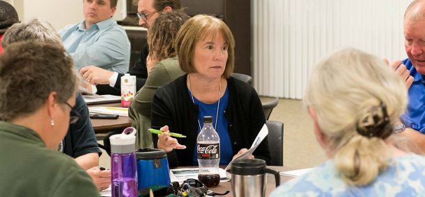 Karen Snorek, vice president of finance and administration, discusses BSU's draft strategic plan at a campus forum on Oct. 12.