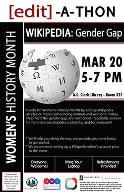 Women's History Month 2018 Wikipedia Gender Gap Edit-a-Thon
