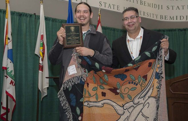 John Daniel (left), with Bill Blackwell Jr., won the inaugural Earl Nyholm Culture and Language Award.