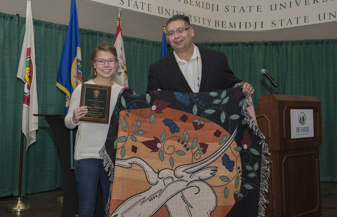 Sage Miletich, with Bill Blackwell Jr., won this year's AIRC Community Leadership Award.