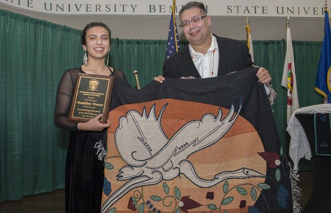 Madeline Treuer, with Bill Blackwell Jr., won her second consecutive Outstanding American Indian Student of the Year award.