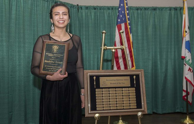 Madeline Treuer will be added to a plaque listing previous Outstanding American Indian Student of the Year recipients.