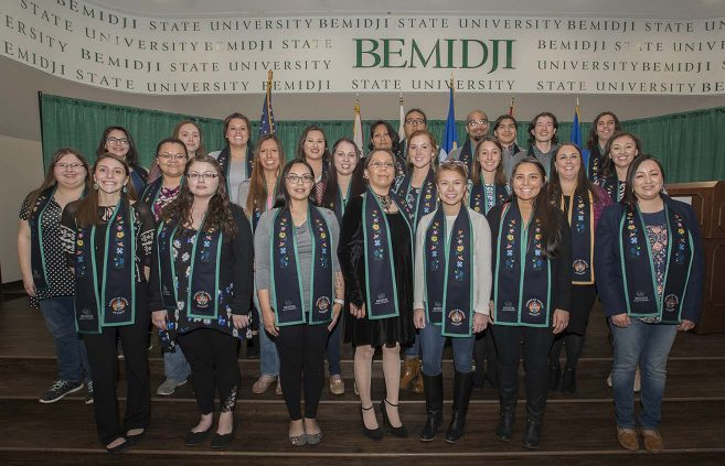 Twenty-five of BSU's record 51 American Indian graduates-to-be were on-hand at the awards banquet.