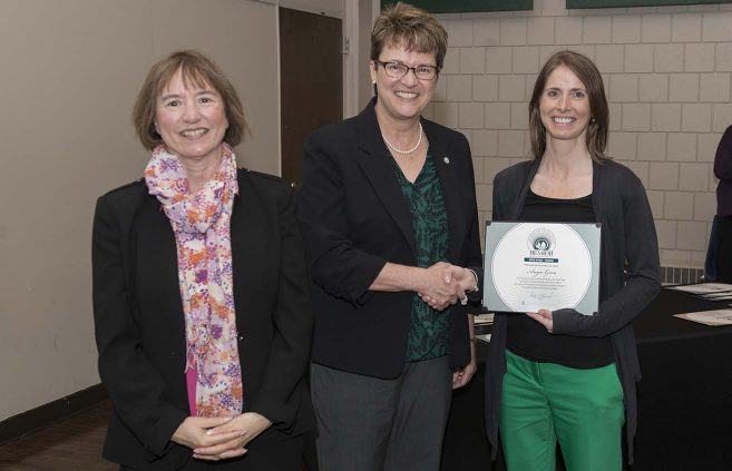 Angie Gora (right) won the Spirit of BSU Award. She's pictured with VP Karen Snorek (left) and President Hensrud.