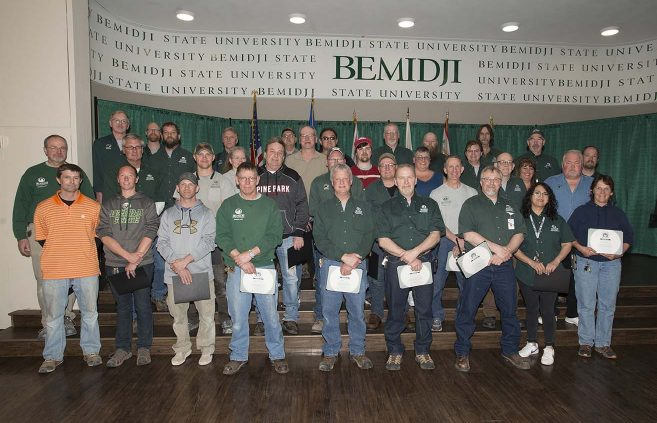 BSU's grounds crew won a Spirit of BSU award for their tireless efforts to keep the campus clear of snow this winter.