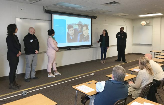 Maddi Treuer, Matt Splittstoser, Daniela Maltais, Vanessa Rae Lopez, and Sterling Knox explained the President's Student Commission's diversity photo contest project.