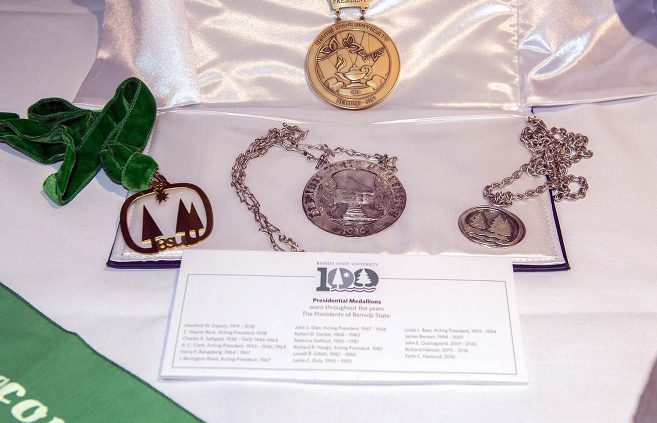Presidential medallions were among many historical artifacts on display in Bangsberg Fine Arts Complex for the kickoff celebration.