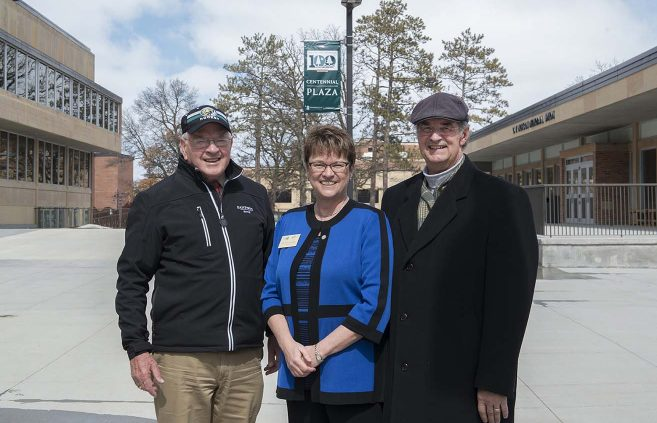 Former presidents Jim Bensen (left) and Jon Quistgaard with current BSU President Faith Hensrud.