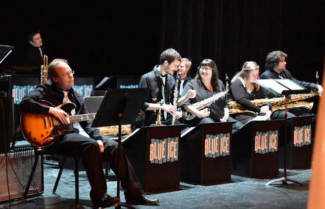 BSU's Blue Ice Jazz Band provided music during the Centennial kickoff celebration.