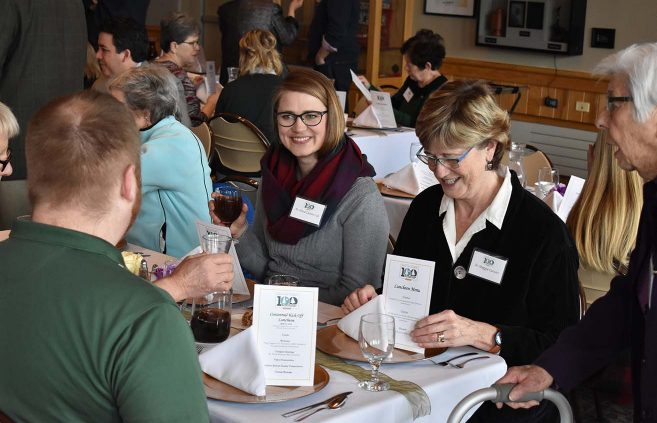Anna Carlson, assistant director of BSU's Sustainability Office, at the Alumni & Foundation luncheon.