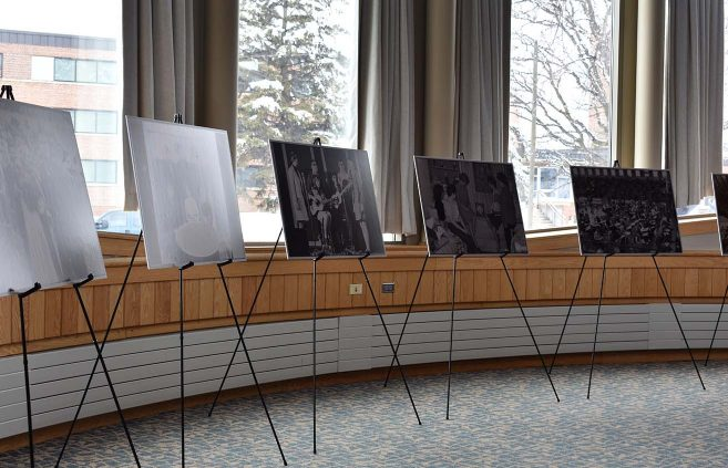The alumni luncheon at the AIRC featured historical photos curated by the AC Clark Library.
