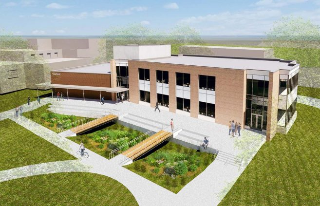 Spring 2018 architectural renderings of the proposed Hagg-Sauer Academic Learning Center at Bemidji State University.