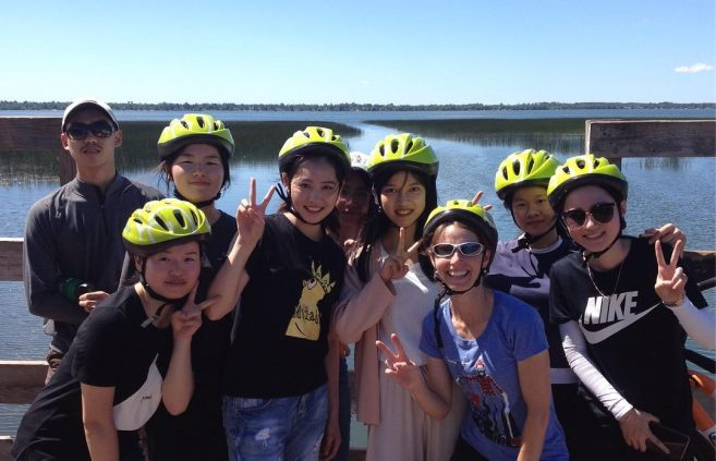Jiujiang students rode bikes around Lake Bemidji on July 9. Photo: SummerBSU on Instagram