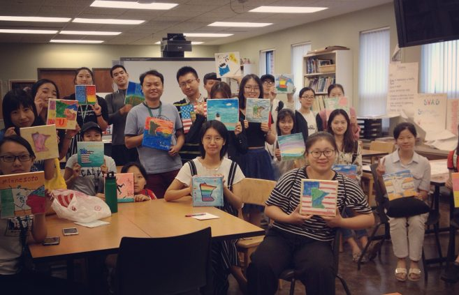 Jiujiang students at a July 18 painting party. Photo: SummerBSU on Instagram