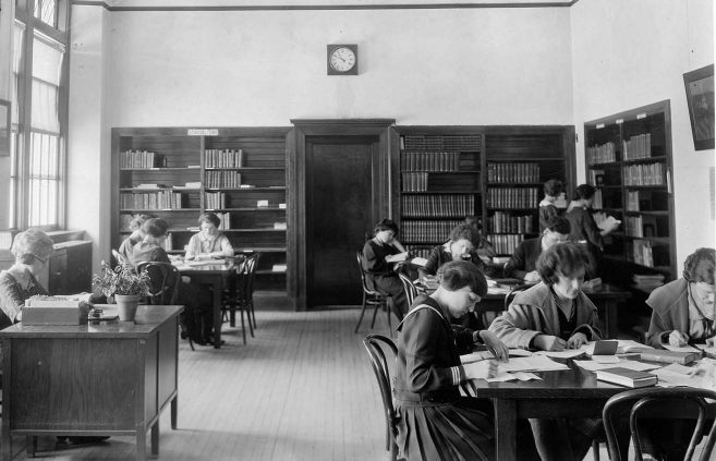 Library in what is now Deputy Hall, 1920s.