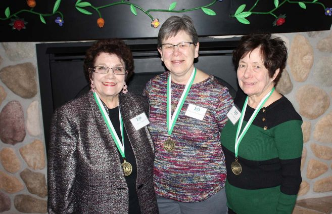 Joyce (Thompson) Siegert '68 (left), Mary Lou (Stark) Marchand '66 and Janice (Hamerlik) Langan '68 were inducted into the Golden Beaver Society for alumni of 50 or more years at the Centennial Kickoff Luncheon on April 12 in the American Indian Resource Center.